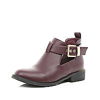 Dark red cut out ankle boots