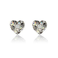 Silver tone gem stone heart stud earrings