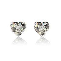 Silver tone gemstone heart stud earrings