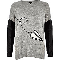 Grey paper plane jumper
