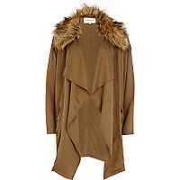 Khaki faux fur collar waterfall jacket