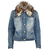 Mid wash faux fur collar denim jacket
