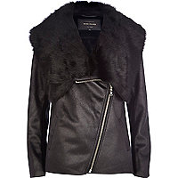 Black faux fur lined jacket