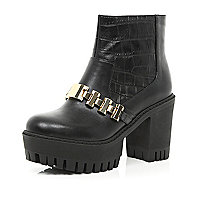 Black croc chain trim cleated platform boots