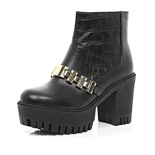 Black croc chain trim cleated platform boots