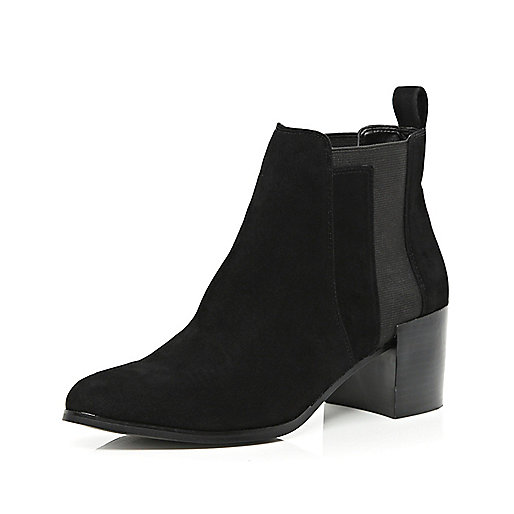Black angular panel block heel ankle boots