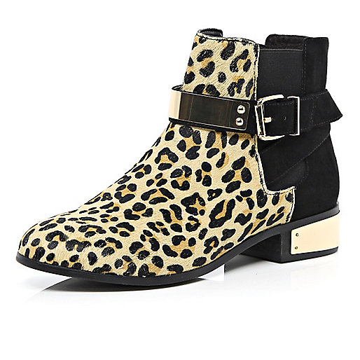 Brown leopard print pony skin Chelsea boots