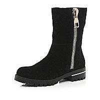 Black suede oversized zip biker boots