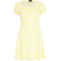 Yellow floral crochet collar skater dress