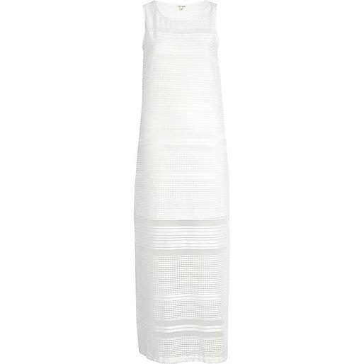 White crochet sleeveless maxi dress
