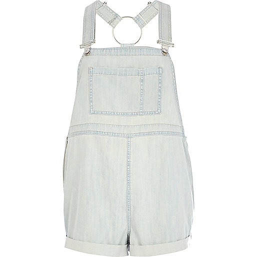 Light wash denim dungarees
