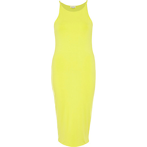 Lime racer front bodycon midi dress