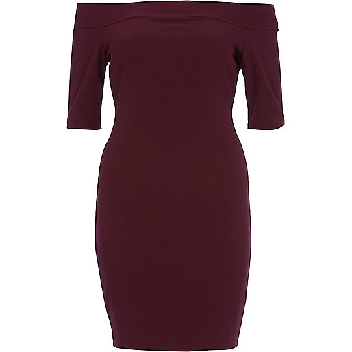 Dark purple bardot bodycon dress