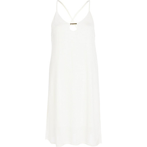 Cream metal trim cami swing dress