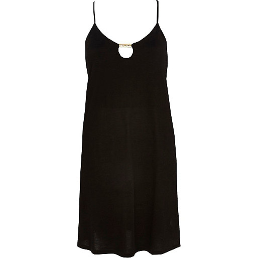 Black metal trim cami swing dress