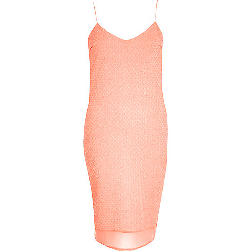 Orange chiffon hem textured slip dress