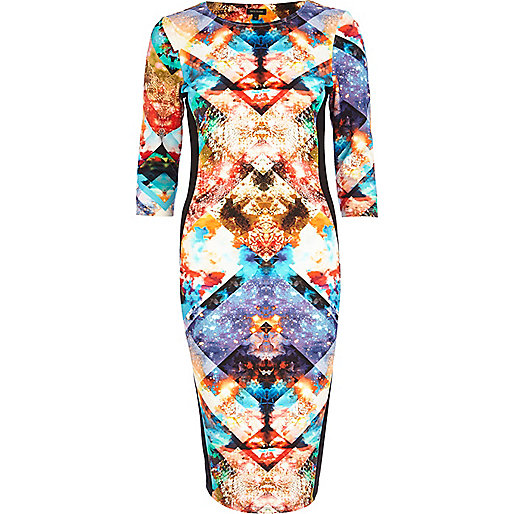 Blue geometric space print column dress