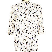 Cream dog print roll sleeve shirt