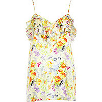 Yellow floral print frilly cami top