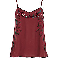 Dark red floral embroidered cami top