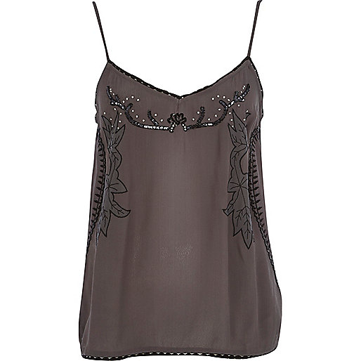 Dark grey floral embroidered cami top