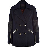 Navy leather-look panel pea coat