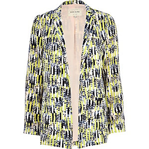 Lime abstract stripe print blazer