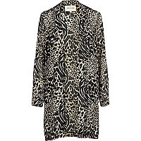 Beige animal print duster jacket