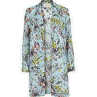 Blue floral print duster jacket
