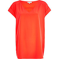 Bright red V neck t-shirt
