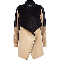 Camel colour block waterfall jacket