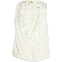 White metallic print frill front wrap blouse