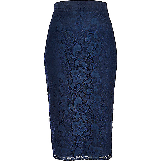 Navy lace pencil skirt