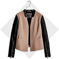 Camel leather-look sleeve biker blazer