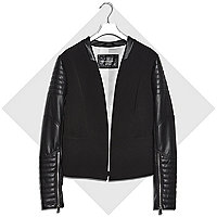 Black leather-look sleeve biker blazer