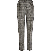 Black check straight trousers