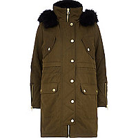 Khaki utility faux fur parka jacket