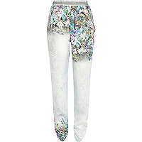 White placement tropical print joggers