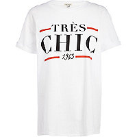 White tres chic 1963 print oversized t-shirt