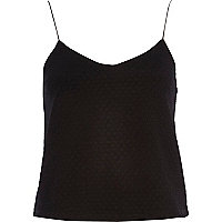 Black textured shoestring cami top