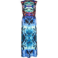 Blue abstract print split side maxi dress