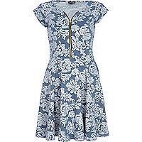 Blue floral print zip trim skater dress