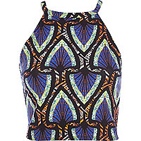 Blue fluro tribal print racer front crop top