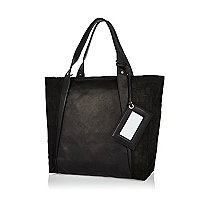 Black leather croc panel tote bag