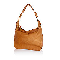 Tan leather slouch bag
