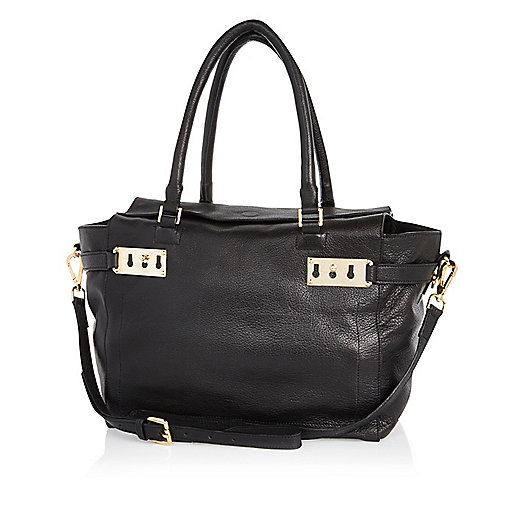 Black leather tab top tote bag