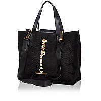 Black snake textured pony skin mini tote bag