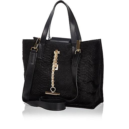 Black snake textured pony skin mini tote bag