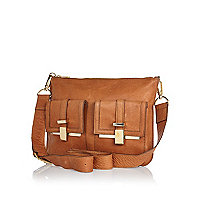 Tan leather pocket messenger bag