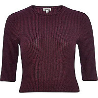 Purple marl ribbed crop top